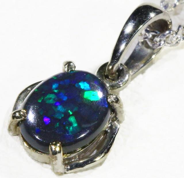 Black  Opal set in 18k white Gold Pendant  CF 1152