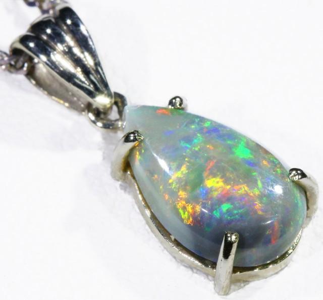 Black  Opal set in 18k white Gold Pendant  CF 1154