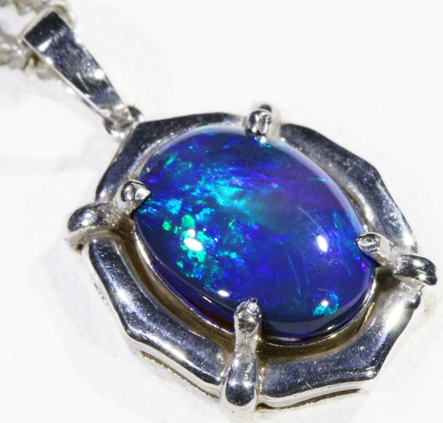 Black  Opal set in 18k white Gold Pendant  CF 1155