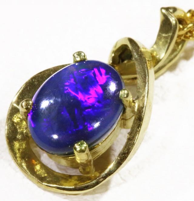 Black  Opal set in 18k  Gold Pendant  CF 1163