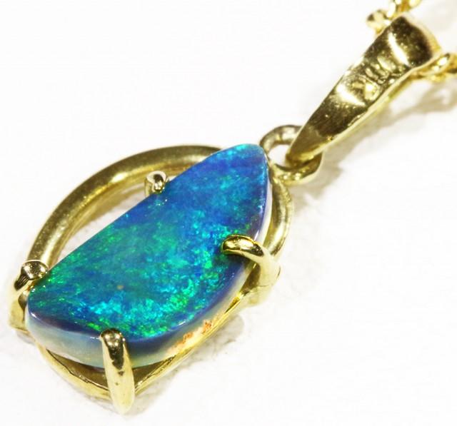 Black  Opal set in 18k  Gold Pendant  CF 1164