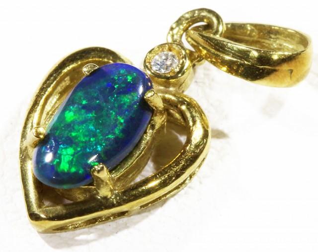 Black  Opal set in 18k  Gold Pendant  CF 1165