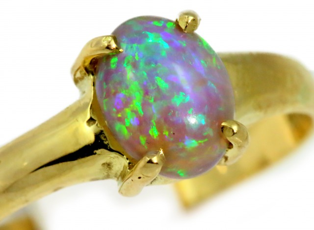 Solid Crystal Opal Yellow Gold Ring SB962