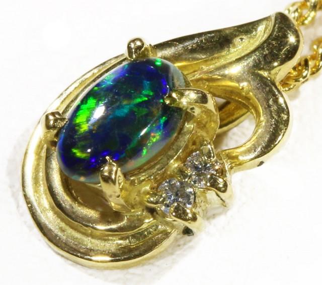 Black  Opal set in 18k  Gold Pendant  CF 1169