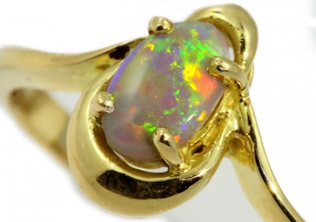 Solid Dark Opal Yellow Gold Ring SB964