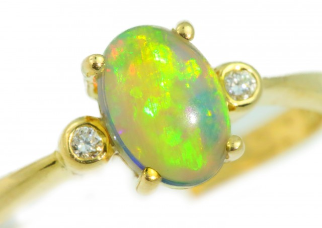 Solid Crystal Opal Yellow Gold Ring SB966