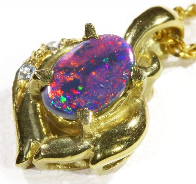Black  Opal set in 18k  Gold Pendant  CF 1173