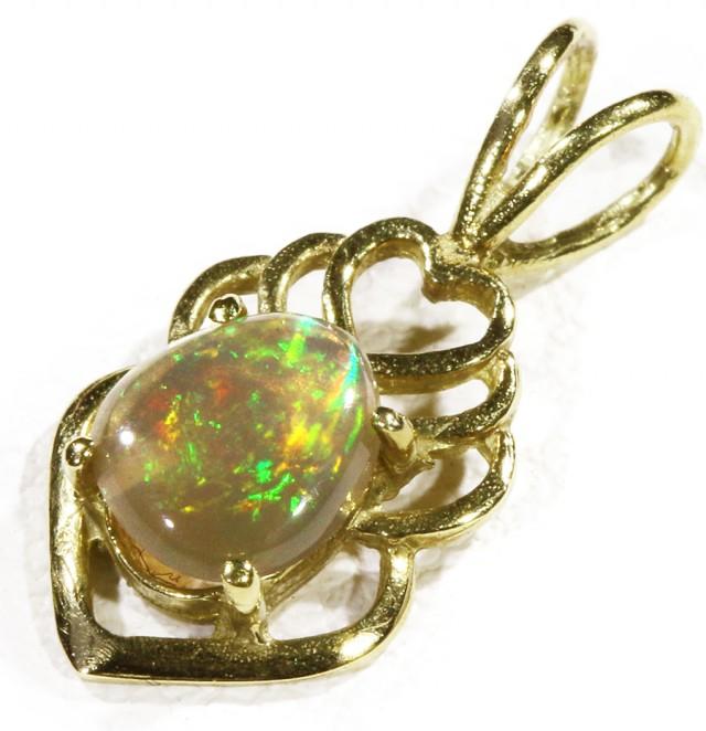 Black  Opal set in 18k  Gold Pendant  CF 1175