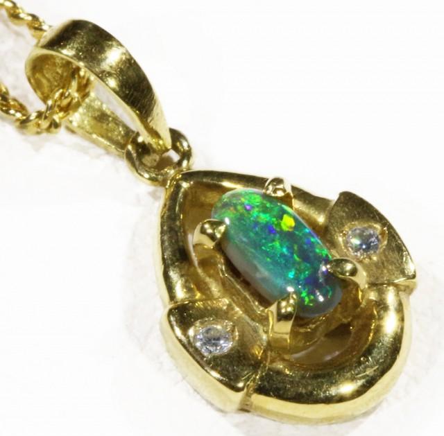 Black  Opal set in 18k  Gold Pendant  CF 1179