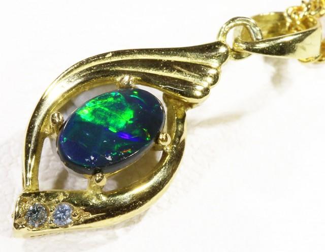 Black  Opal set in 18k  Gold Pendant  CF 1187