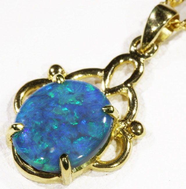 Black  Opal set in 18k  Gold Pendant  CF 1189