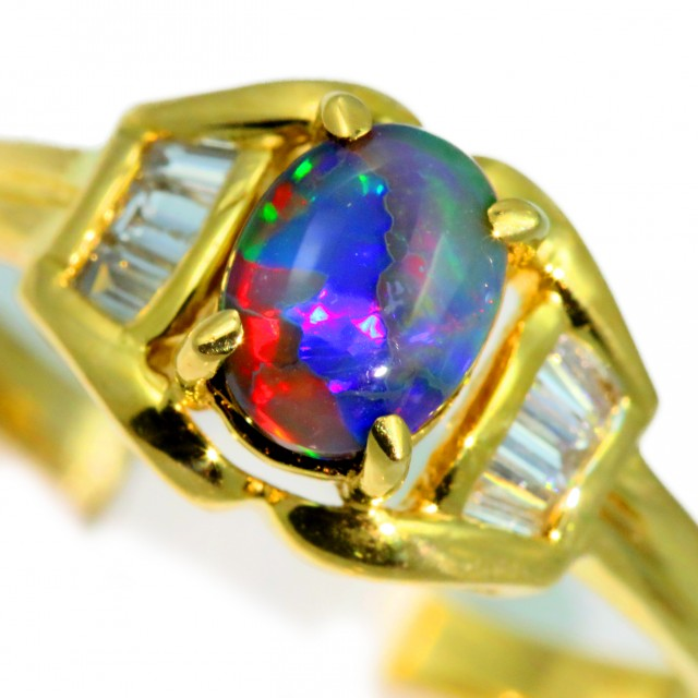 Solid Black Opal Yellow Gold Ring SB970
