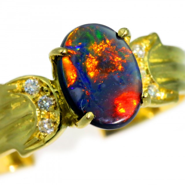 Solid Black Opal Yellow Gold Ring SB976