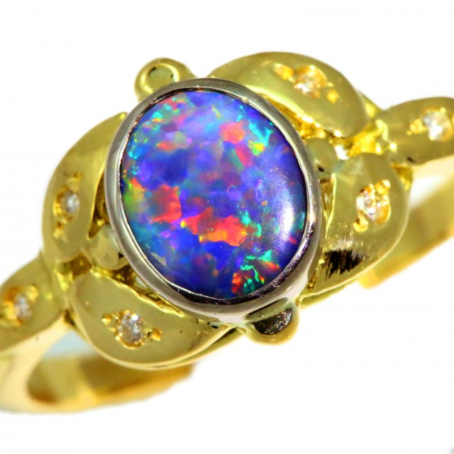 Solid Black Opal Yellow Gold Ring SB977