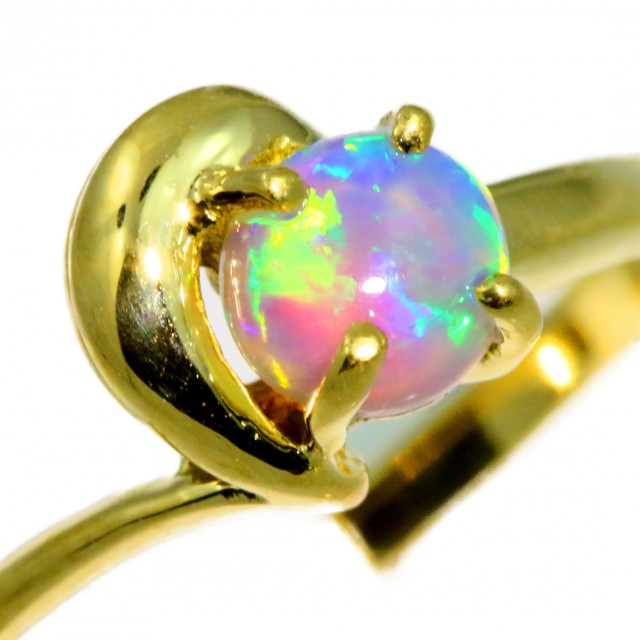Solid Crystal Opal Yellow Gold Ring SB979