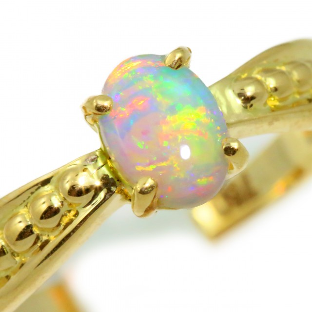 Solid Crystal Opal Yellow Gold Ring SB982