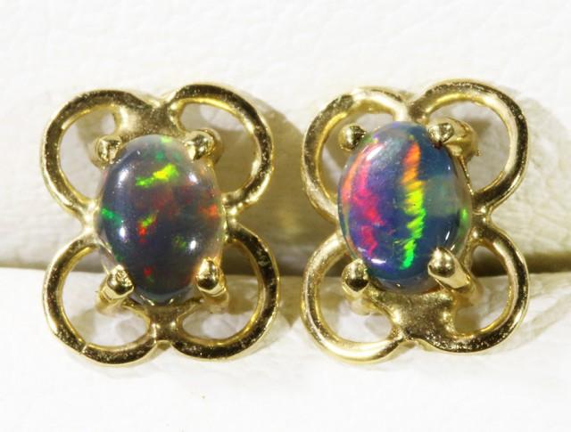 Solid Black Opal set in 18k yellow gold Earring CF1194