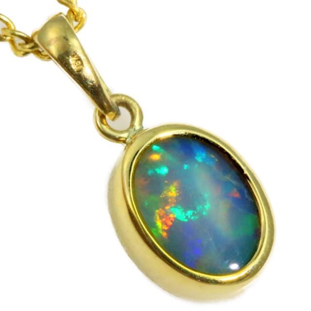 Enhanced Crystal Opal Set in 18K Yellow Gold Pendant CF1221
