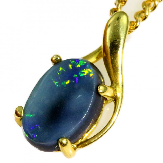 Solid Black Opal Set in 18K Yellow Gold Pendant CF1242