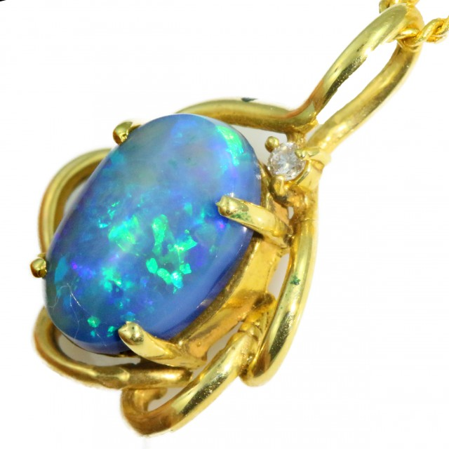 Solid Black Opal Set in 18K Yellow Gold Pendant CF1251
