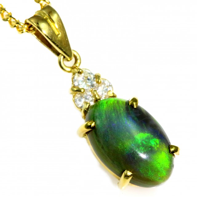 Solid Black Opal Set in 18K Yellow Gold Pendant CF1252