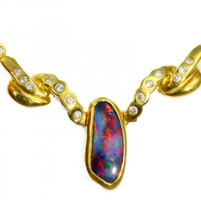 Solid Black Opal Set in 18K Yellow Gold Pendant CF1255