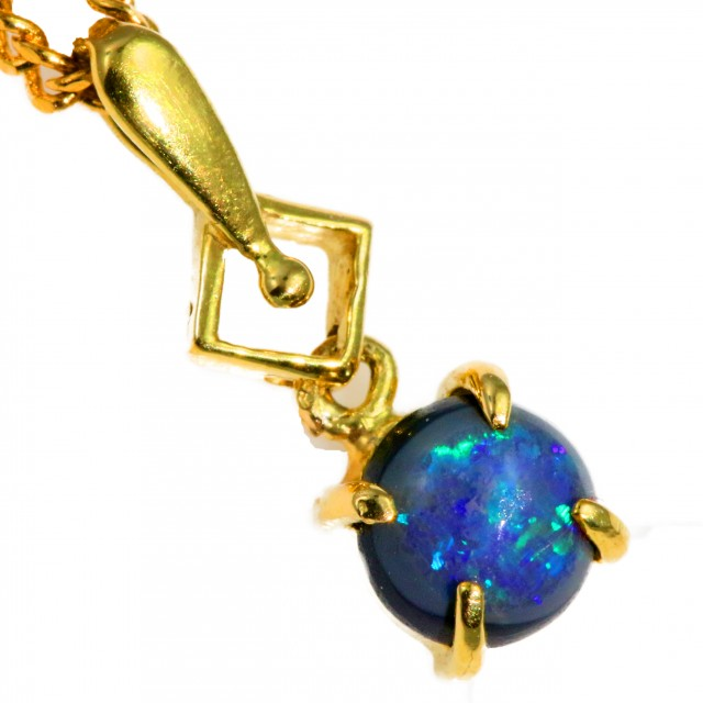 Solid Black Opal Set in 18K Yellow Gold Pendant CF1257