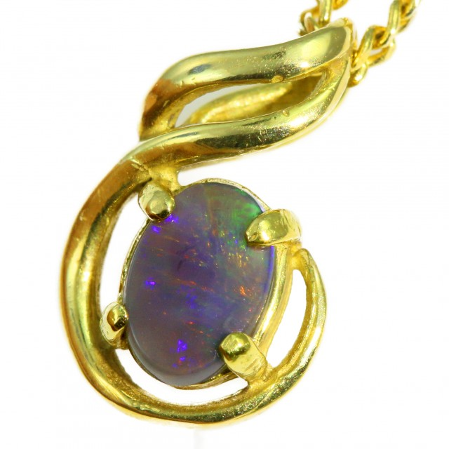 Solid Black Opal Set in 18K Yellow Gold Pendant CF1272