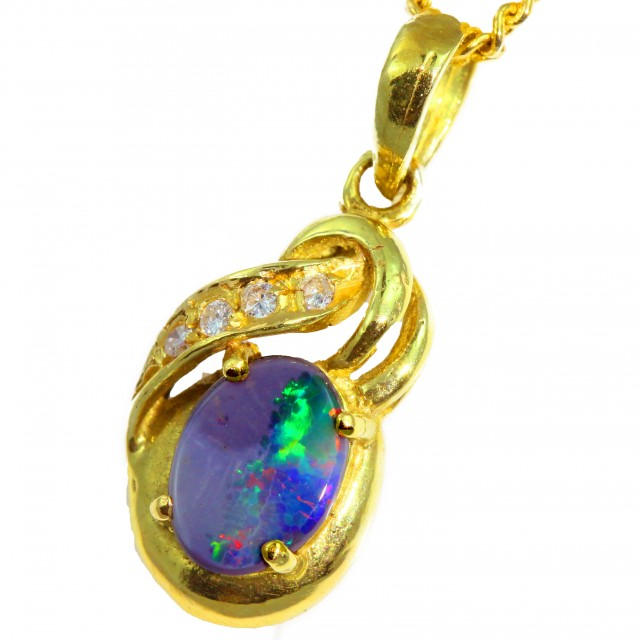 Solid Black Opal Set in 18K Yellow Gold Pendant CF1277