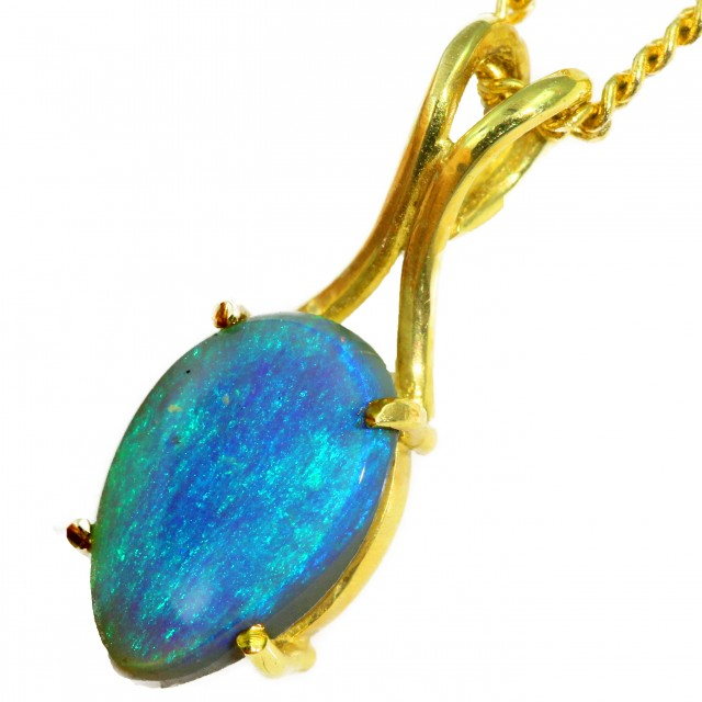 Solid Black Opal Set in 18K Yellow Gold Pendant CF1278