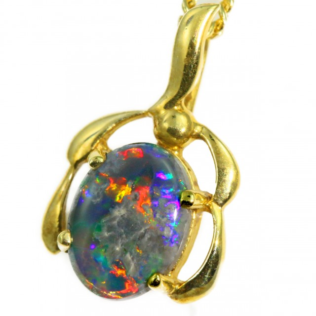 Solid Black Opal Set in 18K Yellow Gold Pendant CF1279