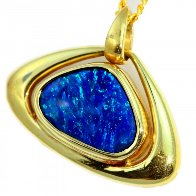 Amazing Solid Black Opal Set in 18K Yellow Gold Pendant CF1282