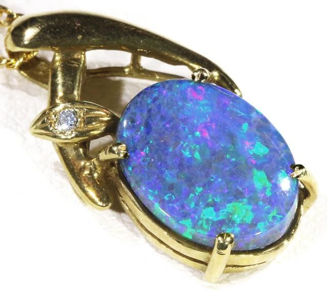 Black Opal set in 18k Gold Pendant  CF 1211