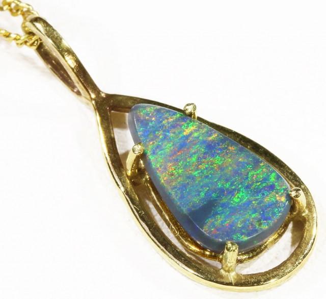 Multifire Black Opal set in 18k Gold Pendant  CF 1212