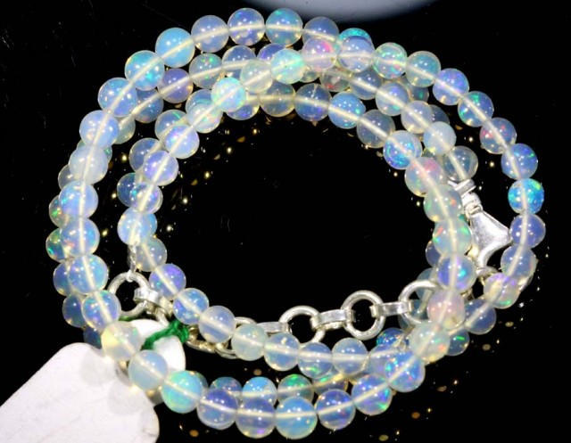 37.75CTS ROUND OPAL BEAD STRAND FOB-1078