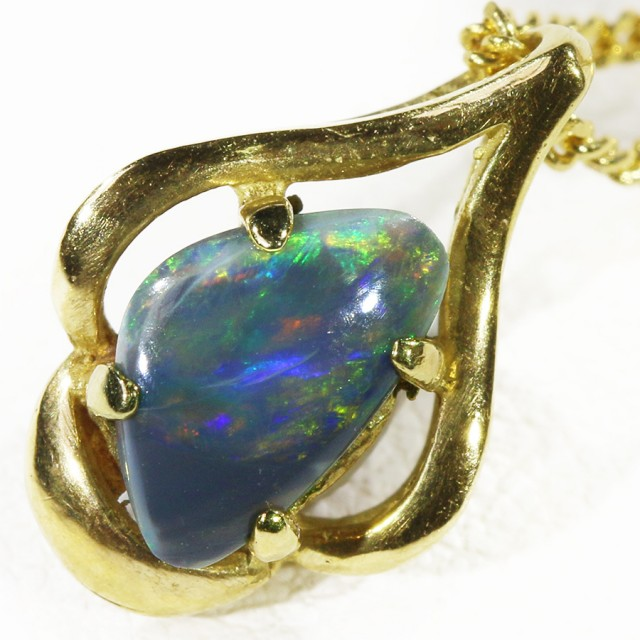 Solid Black Opal Set in 18K Yellow Gold Pendant CF 1296