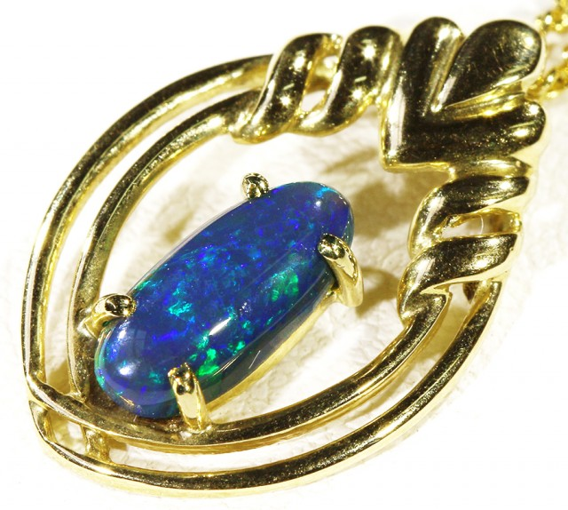 Solid Black Opal Set in 18K Yellow Gold Pendant CF 1301