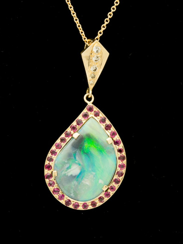 Semi-black Solid Opal Pendant w/Rubies 6ct (LP128)