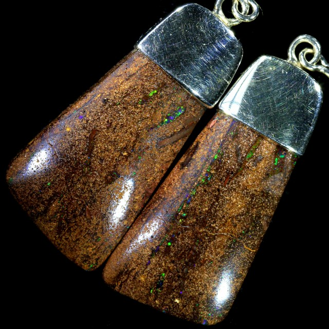 35.30 CTS BOULDER OPAL EARRINGS WITH HOOK [SOJ5806]