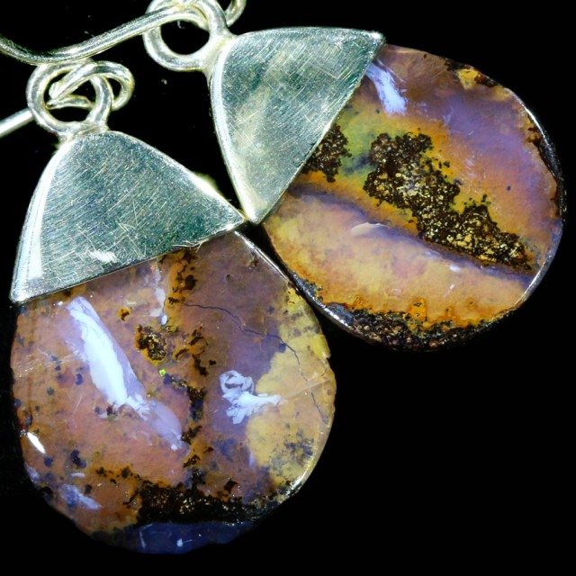 18.25 CTS BOULDER OPAL EARRINGS WITH HOOK [SOJ5809]