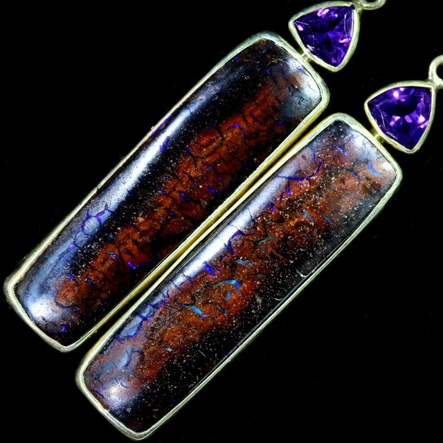 78.60 CTS BOULDER OPAL EARRINGS/AMETHYST WITH HOOK [SOJ5818]