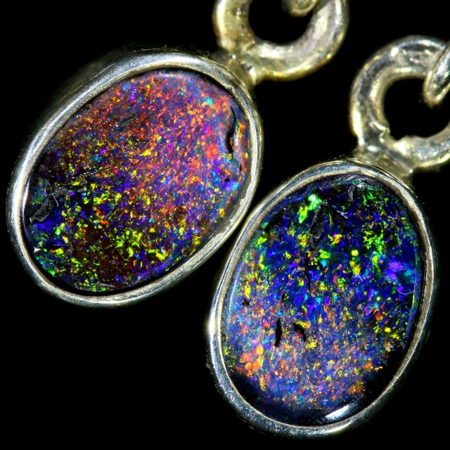 9.35 CTS BOULDER OPAL SOLID EARRINGS WITH HOOK [SOJ5823]