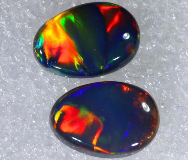 N1  5.51 CTS QUALITY BLACK SOLID OPAL(pair)  LIGHTNINGRIDGE INV-813 GC
