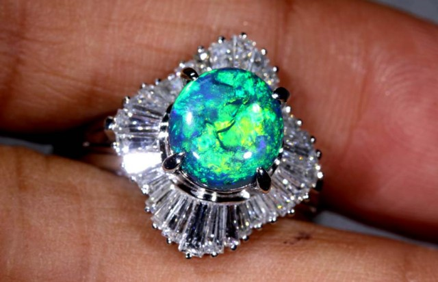 43.45 CTS SOLID BLACK OPAL PT-900 AND  DIAMOND RING INV-822  GC