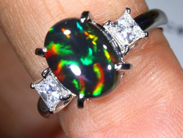 27.45 CTS SOLID BLACK OPAL PT-900 AND  DIAMOND RING INV-823  GC