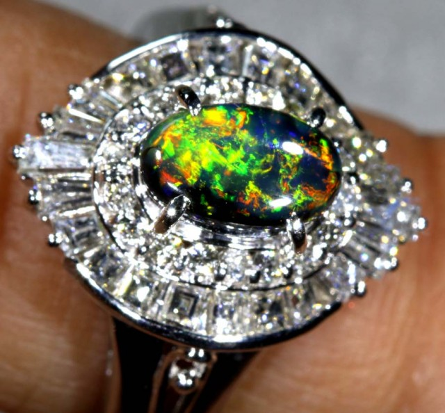 47.65 CTS SOLID BLACK OPAL PT-900 AND  DIAMOND RING INV-824  GC