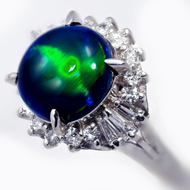 """CERTIFIED"" SIZE 7 PLATINUM RING WITH CATS EYE BLACK OPAL [SOJ584"