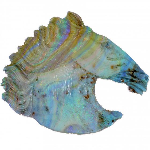 145.09 CTS BOULDER OPAL HORSE HEAD CARVING [BOCAR125]