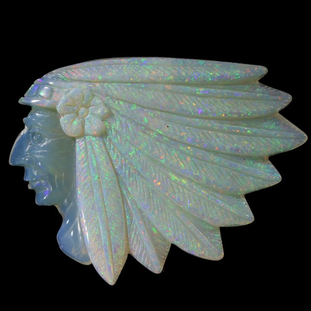 32.74 CTS  SOLID CRYSTAL OPAL CARVING INDIAN HEAD - [SO9374]safe