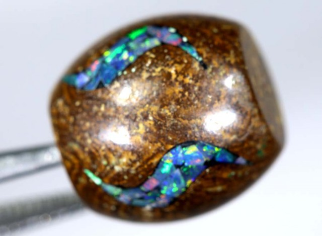 15 CT BOULDER OPAL BEADS INLAY LO-4309